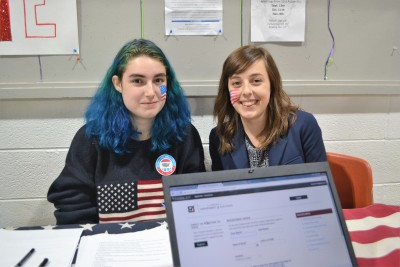 PVCC students manning the voter registration table. Photo by Jake Delaurier
