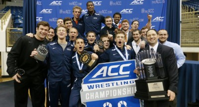 Steve Garland and the UVA wrestling team celebrate after winning the ACC championships in 2015. Photography provided by Steve Garland.